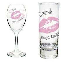 Personalised Pink Kiss Shot or Wine Glass 18th 21st - Birthday Gift Present Idea