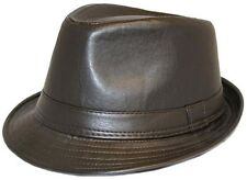 Unisex Leather Look Vintage Trilby Hat 2 colours FREE  fast post 1st class