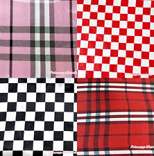 Black Hot Red Light Pink White Checked Plaid Crafting Sewing Satin Fabric 1 Yard