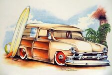 1951 WOODY WAGON SURF BOARD HOT ROD BY BRENT GILL LONG SLEEVE T SHIRT