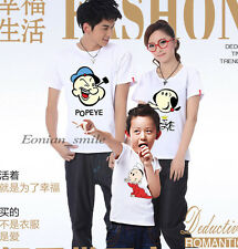 Lovers Popeye Oliver MOM DAD Kids Family Summer T-Shirt Lycra Cotton QYA6206