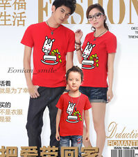 Horse Lovers MOM DAD Kids Family Summer T-Shirt Set Lycra Stretch Cotton QYA6212