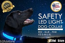 LED Dog Collar - Pet Night Safety Collar - Flashing Light Up Collar 3 Colors NEW