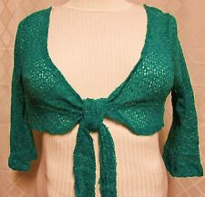 Exquz Plus Green Cropped Sparkle Knit Bolero Shrug Sweater Size 2X & 3X New USA