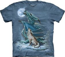 Dragon Wolf T-Shirt by The Mountain.  Howling at the Moon Sizes S-5XL NEW