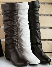 Womens Synthetic Leather Low Heel Knee High Boots Sexy Shoes US Size 6-10.5 F002