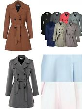 Vicky Smith Womens Double Breasted Trench Mac Coat Ladies Fashion Belted Jacket