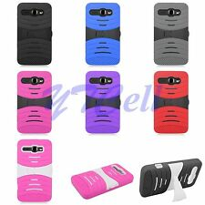 For Alcatel OneTouch Phones Rugged Hybrid Skin Hard Case Back Cover Stand B2