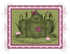 Custom Made T Shirt  Cute Frog Pic Heart Bow Frame Flowers Adorable Kid or Adult