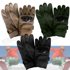 Genuine Leather Trim Tactical Assault Gloves - Abrasion Resistant Fabric