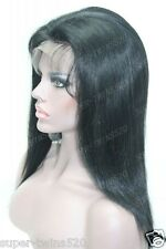 """14"""" 35cm Short 100% Indian Remi Human Hair Lace Wig Soft Natural Silky Straight~"""