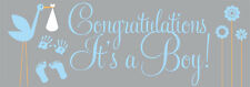 PERSONALISED CONGRATULATIONS ITS A BOY BLUE BABY SHOWER PARTY BANNER PVC