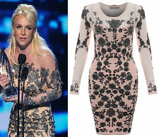 Womens Ladies Chiffon Mesh Insert Britney Spear Shinny Floral Bodycon Dress Top