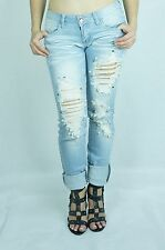 Machine Jeans light blue Destroyed Ripped Distressed Women Skinny Slim Denium