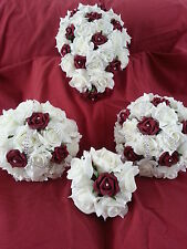 Ivory and bugundy bridal bouquet, bridesmaid posy, flowergirl with diamante