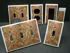 TUSCAN TILE IMAGE SHADES OF BROWN HOME DECOR LIGHT SWITCH OR OUTLET COVER V206