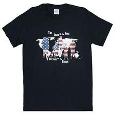 Black The Land Of The Free One Sided Imprinted T-Shirt  - Cotton Material