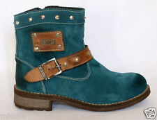 CHAUSSURES BOTTINES FEMME CUIR &DAIM Turquoise NEUVES
