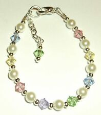 Newborn/Baby/Child/Girl Bracelet Pastel, Pearl & Silver made w Swarovski Elem.