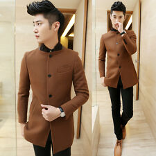 High Quality Men's New Camel Slim Fit Casual Stand Collar Long Trench Coat Jaket