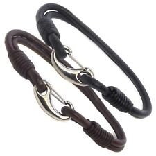 Mens Genuine Leather Braided Wristband Bracelet Stainless Steel Clasp - Choose