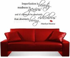 MARILYN MONROE IMPERFECTION IS BEAUTY QUOTE WALL ART STICKER HOME MUSIC FILM DIY