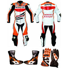 Repsol Orange/white Racing Leather Motorbike Motorcycle suit and Shoes,Gloves