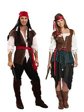 Mens Ladies Caribbean Pirate Captain Costume Adult Fancy Dress Outfit Halloween