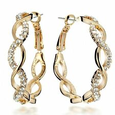 NEW Muti Tone Yellow Gold Silver Sparkle Big Round Hoop Earrings US4GM161