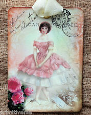 Hang Tags  FRENCH PINK BALLERINA POSTCARD TAGS or MAGNET #341  Gift Tags