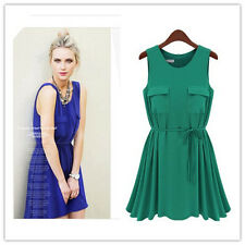 New Women Fashion Sleeveless Summer Chiffon Peplum Frill Casual Skirt Dress UK#