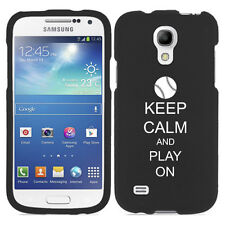 For Samsung Galaxy S4 MINI S IV Rubber Hard Case Keep Calm Play On Baseball