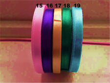 ✿Satin Ribbon Craft Sewing HairBow Pink Purple Yellow Green Grey 4.5 to 6mm 2mtr
