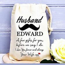 Groom / Husband to be personalised wedding day cotton gift bag love from wife