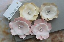 Ivory  Flower Hair Pins  Bridal Hairpiece Bridesmaid Hair Flower Champagne Pink