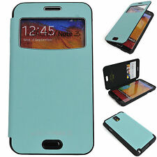 Window View Leather Case Flip Cover Back Bumper Wallet MINT Galaxy Note2, 3 III