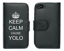 For Apple iPhone 4 4S 5 5S Leather Wallet Case Cover Keep Calm Cause YOLO