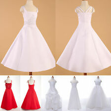 Classic Flower Girl Princess Bridesmaid Wedding Party Dress Red/White 5Style JS