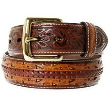 3D Western Mens Belt Leather Hand-Tooled 5634