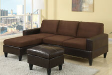 Poundex F7291 Leatherette & Fabric Living Room Sofa Sectional Set with Ottoman