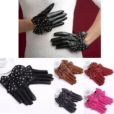 Elegant Women Sexy Gloves Soft Synthetic Leather Bowknot Rivet Short Gloves Chic