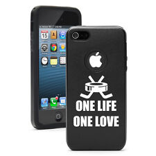 For iPhone 4 4S 5 5S 5c Black Aluminum Silicone Hard Case Cover One Life Hockey