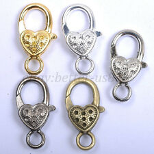 Gold Silver Plated Bronze, Copper, & Dots & Charms Heart Lobster Clasps 25MM