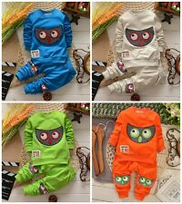 "2pcs New baby kids boys spring suit outerwear & pants set boys outfits""owl"""