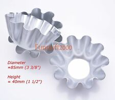 Brioche Bun Mold Large Fluted Egg Tart Baking Mould Ribbed Thick Aluminum 85mm