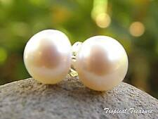 WHITE Pearl Stud Earrings - 925 SOLID Silver