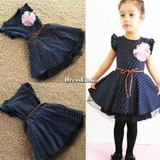 Bambina Girl Pois senza maniche Fiore Principessa Party Dress Vestito Abito+Belt