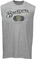 Milwaukee Brewers MLB Licensed Majestic Muscle Shirt Gray Big Sizes