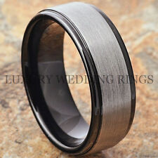 Men's Tungsten Carbide Ring Infinity Black Wedding Band Matte Jewelry Size 6-13