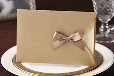 Elegant Ribbon Wedding Invitation Cards in Gold + envelopes Seals
